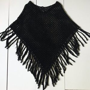 Other - Bohemian Black Crochet Shawl Poncho/ Coverup Frill